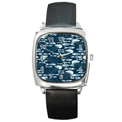 Jellyfish Fish Cartoon Sea Seaworld Square Metal Watch by Mariart