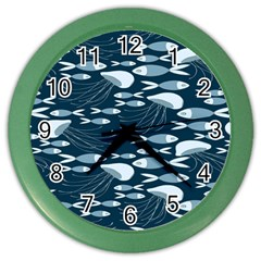 Jellyfish Fish Cartoon Sea Seaworld Color Wall Clocks by Mariart