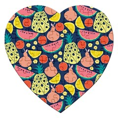 Fruit Pineapple Watermelon Orange Tomato Fruits Jigsaw Puzzle (heart) by Mariart