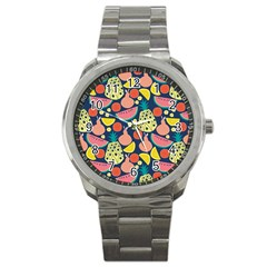 Fruit Pineapple Watermelon Orange Tomato Fruits Sport Metal Watch by Mariart