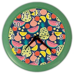 Fruit Pineapple Watermelon Orange Tomato Fruits Color Wall Clocks