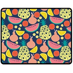 Fruit Pineapple Watermelon Orange Tomato Fruits Fleece Blanket (medium)  by Mariart