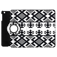 Model Traditional Draperie Line Black White Triangle Apple Ipad Mini Flip 360 Case by Mariart