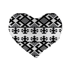 Model Traditional Draperie Line Black White Triangle Standard 16  Premium Flano Heart Shape Cushions by Mariart