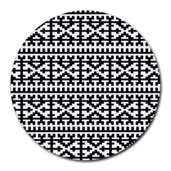 Model Traditional Draperie Line Black White Round Mousepads by Mariart
