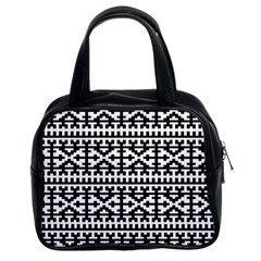 Model Traditional Draperie Line Black White Classic Handbags (2 Sides) by Mariart