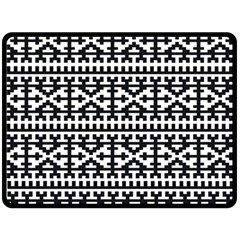 Model Traditional Draperie Line Black White Fleece Blanket (large)  by Mariart