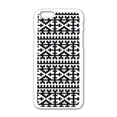 Model Traditional Draperie Line Black White Apple Iphone 6/6s White Enamel Case by Mariart