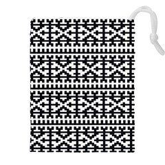 Model Traditional Draperie Line Black White Drawstring Pouches (xxl) by Mariart