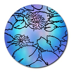 Lotus Flower Wall Purple Blue Round Mousepads by Mariart