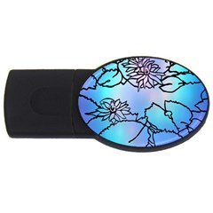 Lotus Flower Wall Purple Blue Usb Flash Drive Oval (2 Gb) by Mariart