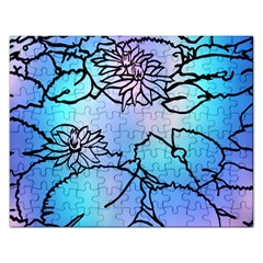 Lotus Flower Wall Purple Blue Rectangular Jigsaw Puzzl by Mariart
