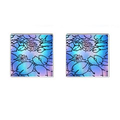 Lotus Flower Wall Purple Blue Cufflinks (square) by Mariart