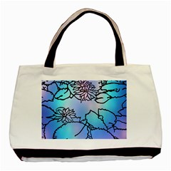 Lotus Flower Wall Purple Blue Basic Tote Bag by Mariart