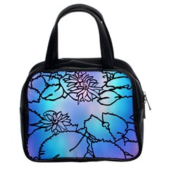 Lotus Flower Wall Purple Blue Classic Handbags (2 Sides) by Mariart