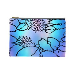 Lotus Flower Wall Purple Blue Cosmetic Bag (large)  by Mariart