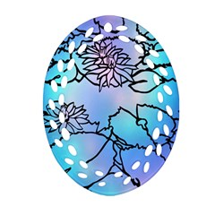 Lotus Flower Wall Purple Blue Oval Filigree Ornament (two Sides) by Mariart