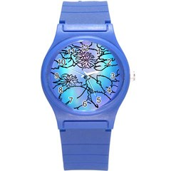 Lotus Flower Wall Purple Blue Round Plastic Sport Watch (s) by Mariart