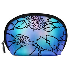 Lotus Flower Wall Purple Blue Accessory Pouches (large)  by Mariart