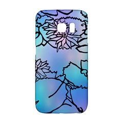 Lotus Flower Wall Purple Blue Galaxy S6 Edge by Mariart