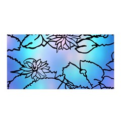Lotus Flower Wall Purple Blue Satin Wrap by Mariart