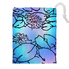 Lotus Flower Wall Purple Blue Drawstring Pouches (xxl) by Mariart