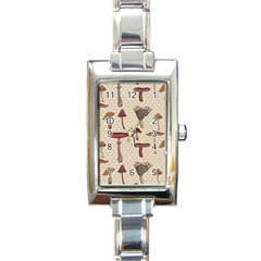 Mushroom Madness Red Grey Brown Polka Dots Rectangle Italian Charm Watch
