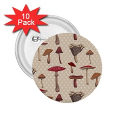 Mushroom Madness Red Grey Brown Polka Dots 2 25  Buttons (10 Pack)