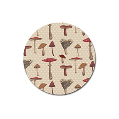 Mushroom Madness Red Grey Brown Polka Dots Magnet 3  (round) by Mariart