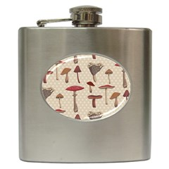 Mushroom Madness Red Grey Brown Polka Dots Hip Flask (6 Oz) by Mariart
