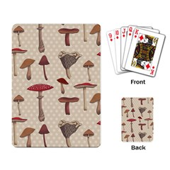 Mushroom Madness Red Grey Brown Polka Dots Playing Card by Mariart