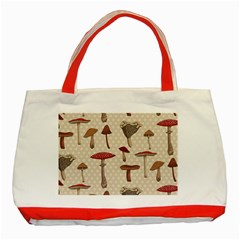 Mushroom Madness Red Grey Brown Polka Dots Classic Tote Bag (red) by Mariart