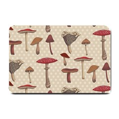 Mushroom Madness Red Grey Brown Polka Dots Small Doormat  by Mariart