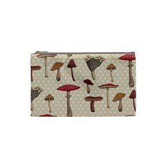 Mushroom Madness Red Grey Brown Polka Dots Cosmetic Bag (small)  by Mariart
