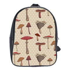 Mushroom Madness Red Grey Brown Polka Dots School Bag (large)