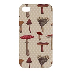 Mushroom Madness Red Grey Brown Polka Dots Apple Iphone 4/4s Hardshell Case by Mariart
