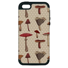 Mushroom Madness Red Grey Brown Polka Dots Apple Iphone 5 Hardshell Case (pc+silicone) by Mariart