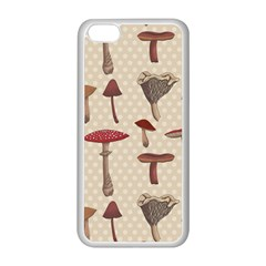 Mushroom Madness Red Grey Brown Polka Dots Apple Iphone 5c Seamless Case (white) by Mariart