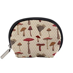 Mushroom Madness Red Grey Brown Polka Dots Accessory Pouches (small)  by Mariart
