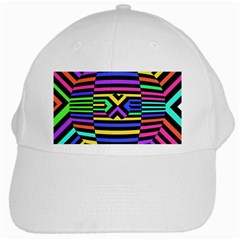 Optical Illusion Line Wave Chevron Rainbow Colorfull White Cap by Mariart
