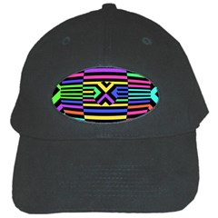 Optical Illusion Line Wave Chevron Rainbow Colorfull Black Cap by Mariart