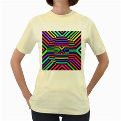 Optical Illusion Line Wave Chevron Rainbow Colorfull Women s Yellow T Shirt by Mariart