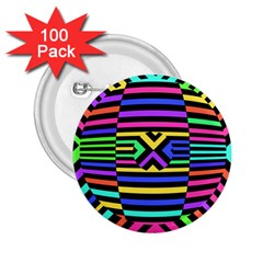 Optical Illusion Line Wave Chevron Rainbow Colorfull 2 25  Buttons (100 Pack)