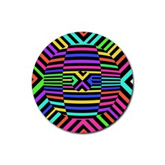 Optical Illusion Line Wave Chevron Rainbow Colorfull Rubber Round Coaster (4 Pack)  by Mariart