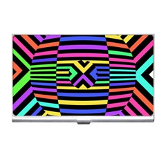 Optical Illusion Line Wave Chevron Rainbow Colorfull Business Card Holders by Mariart