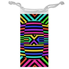 Optical Illusion Line Wave Chevron Rainbow Colorfull Jewelry Bag by Mariart