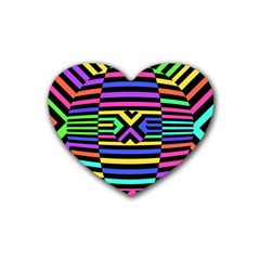 Optical Illusion Line Wave Chevron Rainbow Colorfull Heart Coaster (4 Pack)  by Mariart