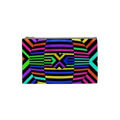 Optical Illusion Line Wave Chevron Rainbow Colorfull Cosmetic Bag (small)