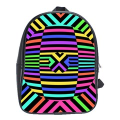 Optical Illusion Line Wave Chevron Rainbow Colorfull School Bag (large)