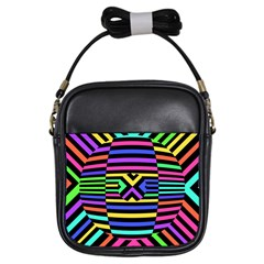 Optical Illusion Line Wave Chevron Rainbow Colorfull Girls Sling Bags by Mariart